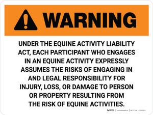 Warning: Illinois Equine Activity Liability Act Landscape - Wall Sign