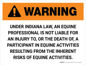 Warning: Indiana Equine Activity Sponsor Not Liable Landscape - Wall Sign