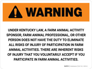 Warning: Kentucky Farm Animal Activity Sponsor Landscape - Wall Sign