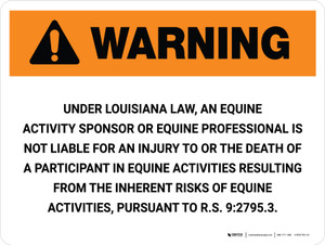 Warning: Louisiana Equine Activity Sponsor Not Liable Landscape - Wall Sign