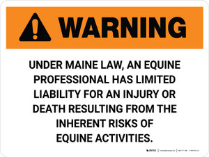 Warning: Maine Equine Activity Sponsor Not Liable Landscape - Wall Sign