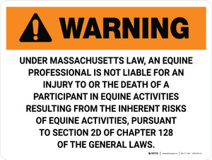 Warning: Massachusetts Equine Activity Sponsor Not Liable Landscape - Wall Sign