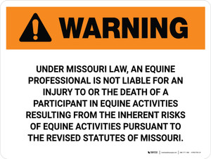 Warning: Missouri Equine Activity Sponsor Not Liable Landscape - Wall Sign