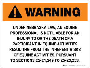 Warning: Nebraska Equine Activity Sponsor Not Liable Landscape - Wall Sign