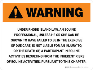 Warning: Rhode Island Equine Activity Sponsor Not Liable Landscape - Wall Sign
