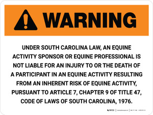 Warning: South Carolina Equine Activity Sponsor Not Liable Landscape - Wall Sign