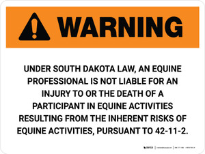 Warning: South Dakota Equine Activity Sponsor Not Liable Landscape - Wall Sign