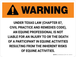 Warning: Texas Equine Professional Is Not Liable Landscape - Wall Sign