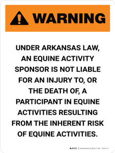 Warning: Arkansas Equine Activity Sponsor Not Liable Portrait - Wall Sign