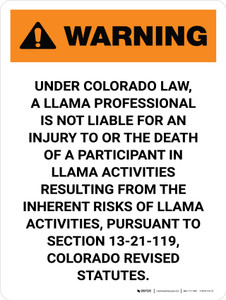 Warning: Colorado Llama Professional Is Not Liable Portrait - Wall Sign
