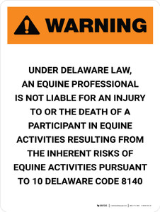 Warning: Delaware Equine Activity Sponsor Not Liable Portrait - Wall Sign