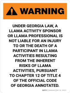 Warning: Georgia Llama Professional Is Not Liable Portrait - Wall Sign
