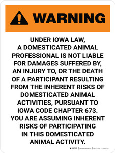 Warning: Iowa Domesticated Animal Professional Is Not Liable Portrait - Wall Sign