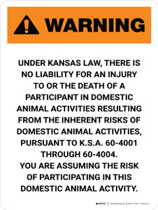 Warning: Kansas Domesticated Animal Professional Is Not Liable Portrait - Wall Sign