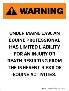 Warning: Maine Equine Activity Sponsor Not Liable Portrait - Wall Sign