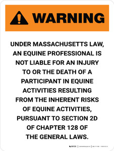 Warning: Massachusetts Equine Activity Sponsor Not Liable Portrait - Wall Sign