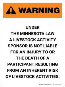 Warning: Minnesota Livestock Activity Sponsor Is Not Liable Portrait - Wall Sign