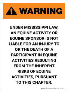Warning: Mississippi Equine Activity Sponsor Not Liable Portrait - Wall Sign