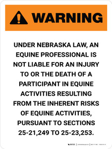 Warning: Nebraska Equine Activity Sponsor Not Liable Portrait - Wall Sign