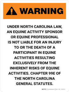 Warning: North Carolina Equine Activity Sponsor Not Liable Portrait - Wall Sign