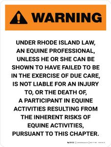 Warning: Rhode Island Equine Activity Sponsor Not Liable Portrait - Wall Sign