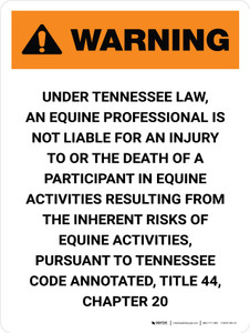 Warning: Tennessee Equine Activity Sponsor Not Liable Portrait - Wall Sign