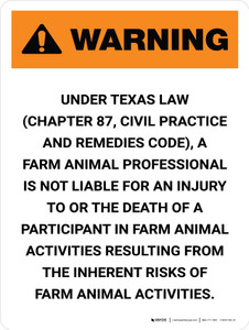 Warning: Texas Farm Animal Professional Is Not Liable Portrait - Wall Sign