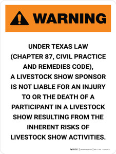 Warning: Texas Livestock Show Sponsor Is Not Liable Portrait - Wall Sign