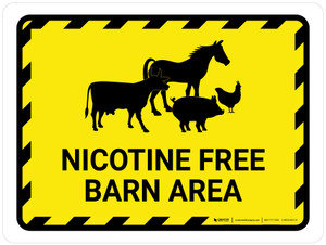 Nicotine Free Barn Area With Animal Icons Landscape - Wall Sign