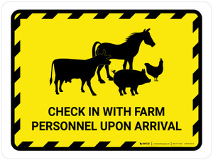 Check In With Farm Personnel Upon Arrival with Animal Icons Hazard Landscape - Wall Sign
