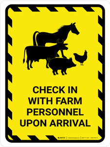Check In With Farm Personnel Upon Arrival with Animal Icons Hazard Portrait - Wall Sign