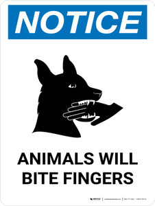 Notice: Animals Will Bite Fingers Portrait - Wall Sign