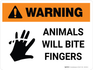 Warning: Animals Will Bite Fingers White with Icons Landscape - Wall Sign