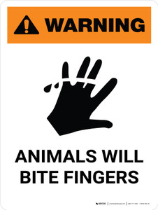 Warning: Animals Will Bite Fingers White with Icon Portrait - Wall Sign