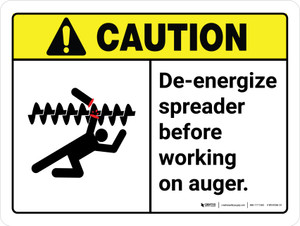Caution: De-Energize Spreader Before Working on Auger ANSI Landscape - Wall Sign