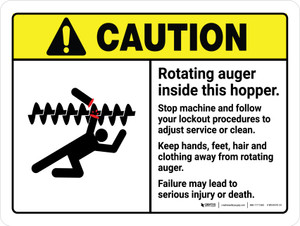 Caution: Rotating Auger Inside This Hopper ANSI Landscape - Wall Sign