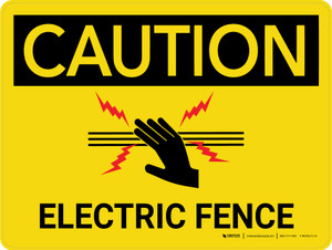 Caution: Electric Fence with Icon  Landscape - Wall Sign