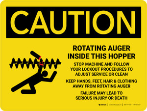 Caution: Rotating Auger Inside This Hopper Landscape - Wall Sign