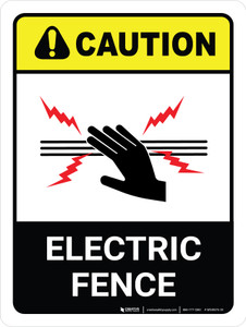 Caution: Electric Fence with Icon ANSI Portrait - Wall Sign