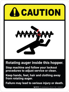 Caution: Rotating Auger Inside This Hopper ANSI Portrait - Wall Sign