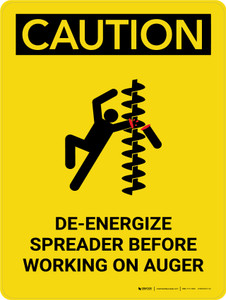Caution: De-Energize Spreader Before Working on Auger  with IconPortrait - Wall Sign