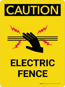 Caution: Electric Fence with Icon Portrait - Wall Sign
