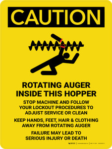 Caution: Rotating Auger Inside This Hopper Portrait - Wall Sign