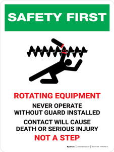 Safety First: Rotating Equipment Never Operate Portrait - Wall Sign