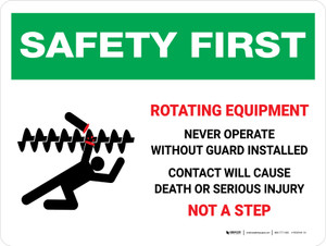 Safety First: Rotating Equipment Never Operate Landscape - Wall Sign