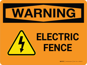Warning: Electric Fence Landscape - Wall Sign
