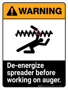 Warning: Ansi De-Energize Spreader Before Working Portrait - Wall Sign