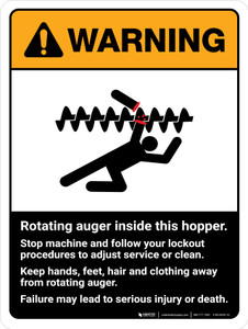 Warning: Ansi Rotating Auger Inside Portrait - Wall Sign