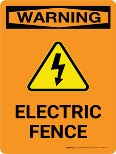 Warning: Electric Fence Portrait - Wall Sign