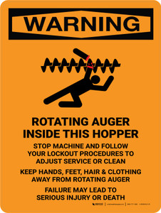 Warning: Rotating Auger Inside Portrait - Wall Sign